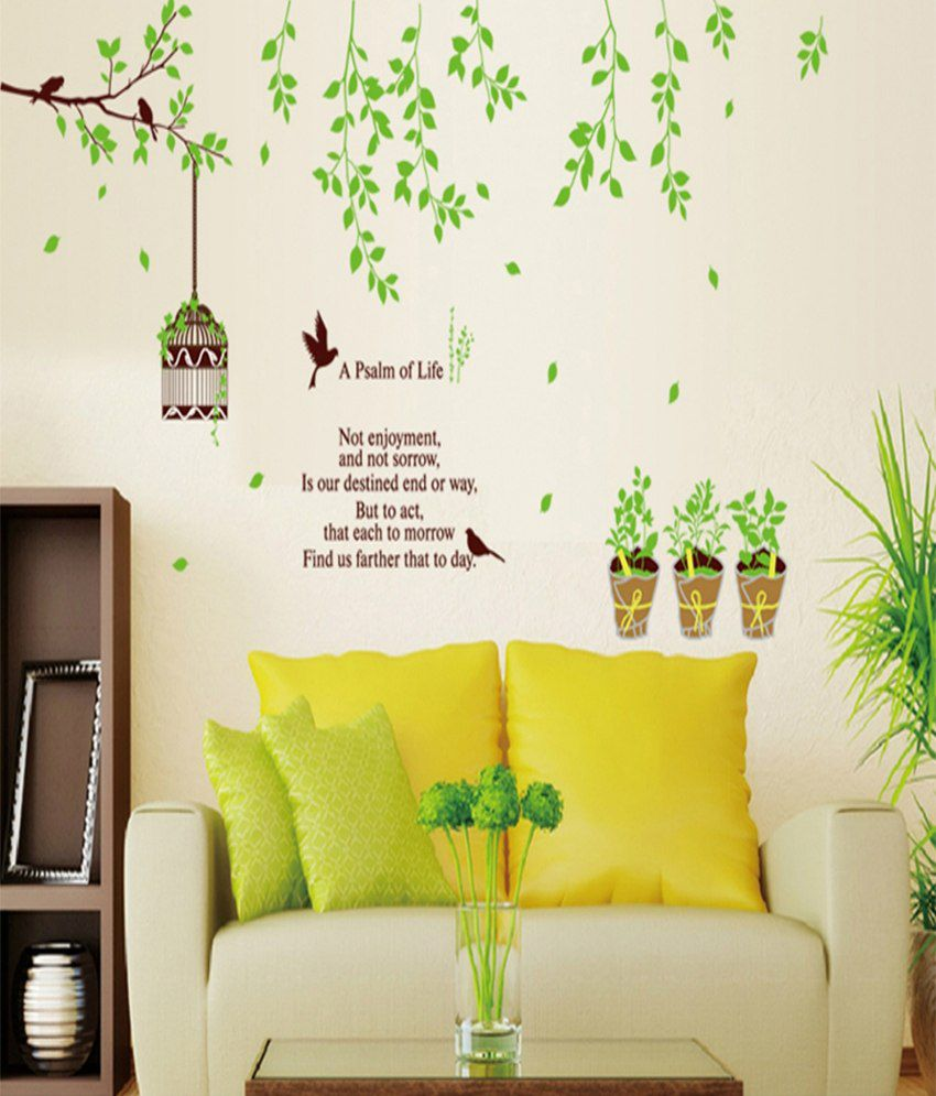WOW INTERIORS AND DECORS Fresh Green Leaves Wall Sticker - Buy WOW ...