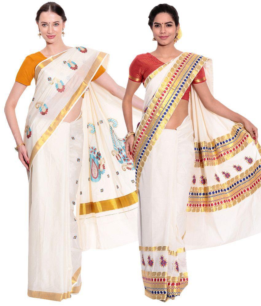 Fashion Kiosks Kerala Kasavu Cotton Saree with Matching Blouse (Pack of 2)