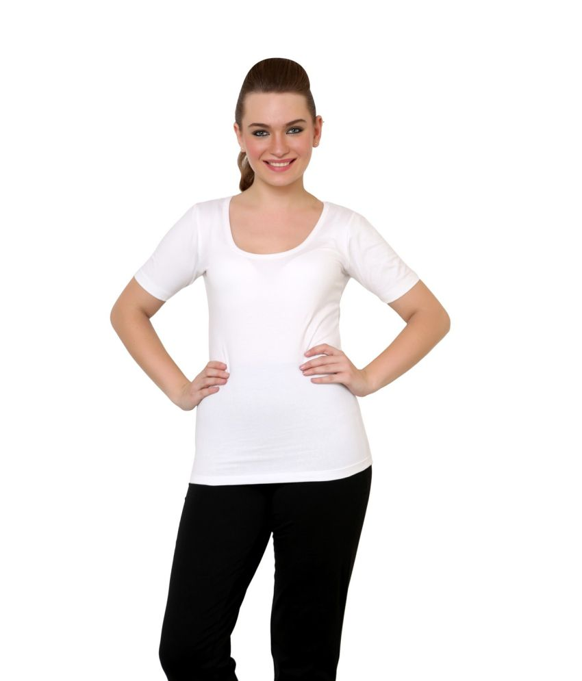 Finesse White Cotton Lycra Half Sleeve T -Shirt