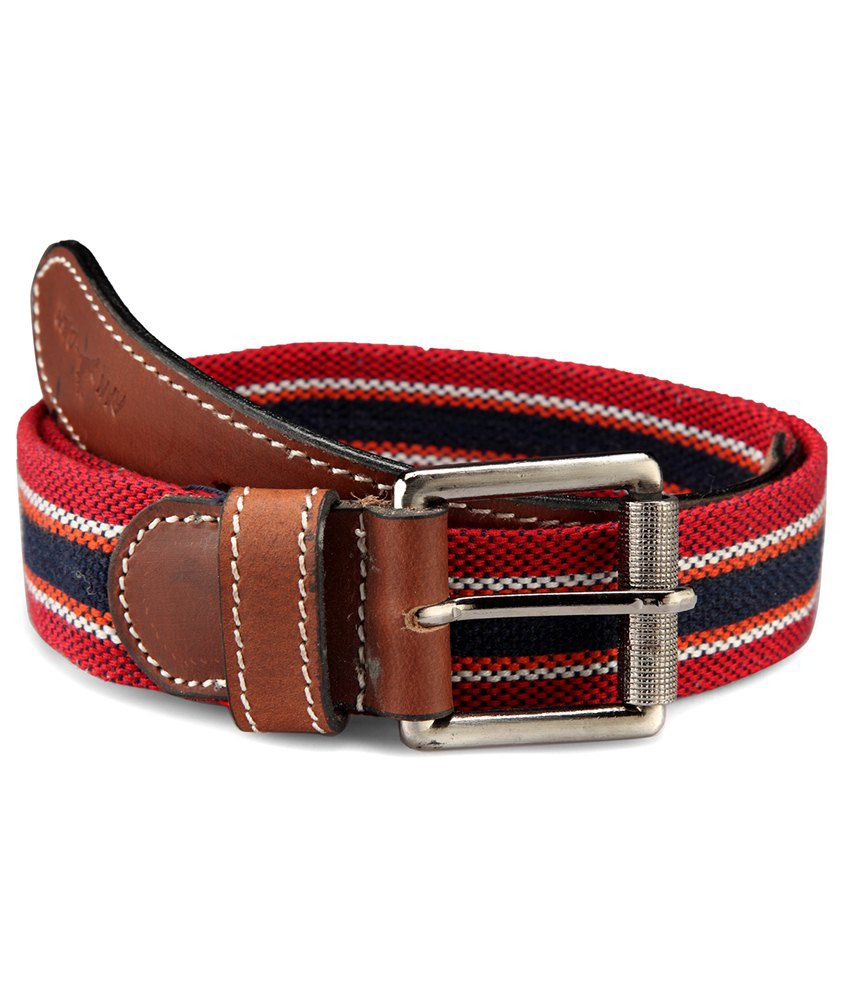Randier Red & Black Canvas Casual Belt