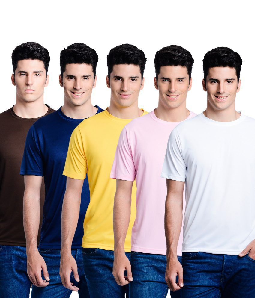 Superjoy Navy Polyester Round Neck T Shirts Combo Of 5