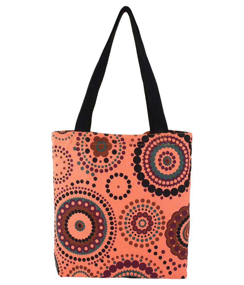Anekaant Orange Canvas Cloth Tote Bag