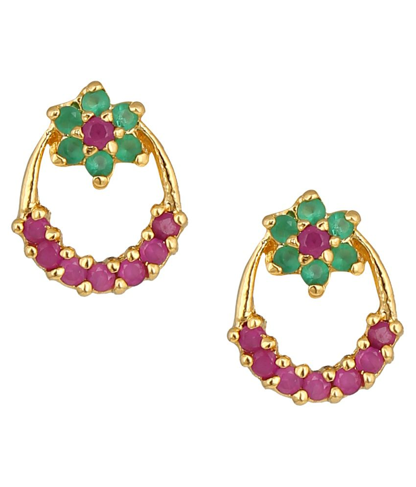 Parijaat Ethnic Gold Plated Stud Earrings