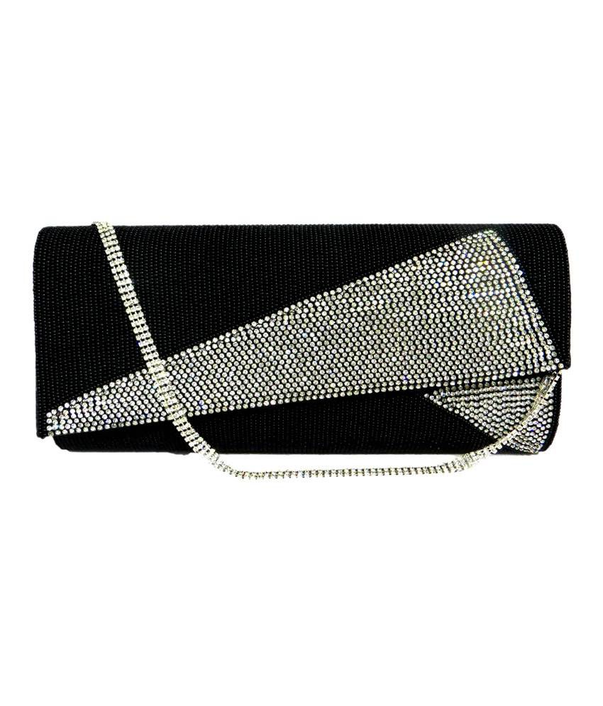 c47cf8b0ff1 Buy WOMEN S RHINESTONE CLUTCH BAG BLACK EVENING WEDDING PROM CLUTCHES  DIAMANTE SPARKLY BEADED DESIGNER SATIN at Best Prices in India - Snapdeal