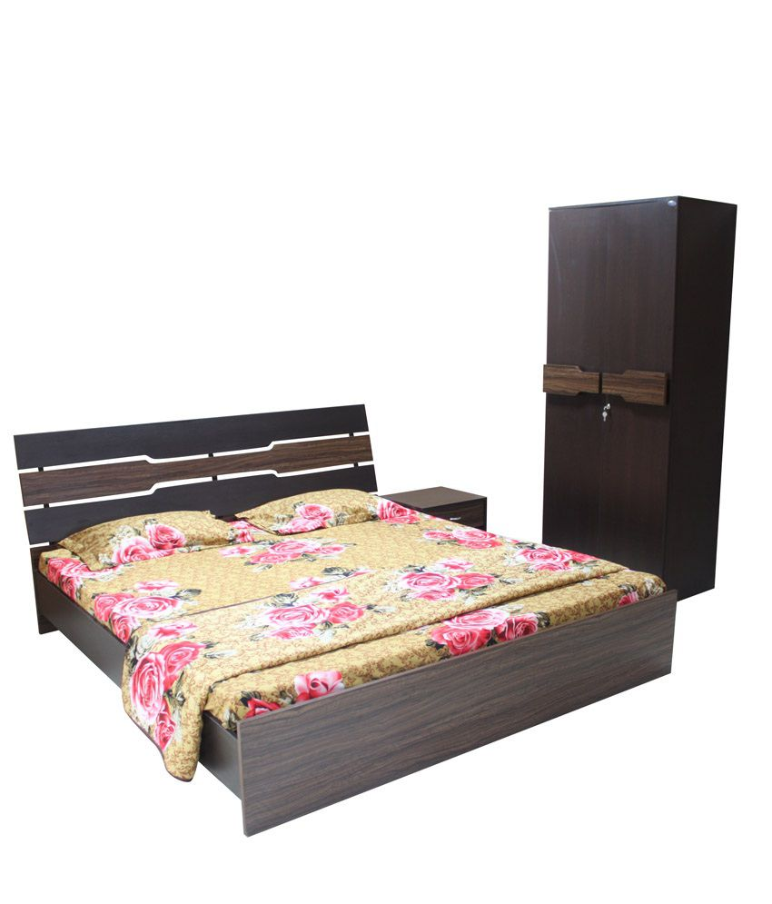 crystal duke bedroom set (queen bed + 2 door wardrobe + side table