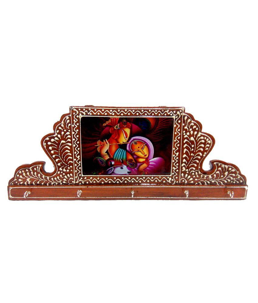 Fab Rajasthan Brown Wooden Embossed Work And Hand Painting 5 Key Holder