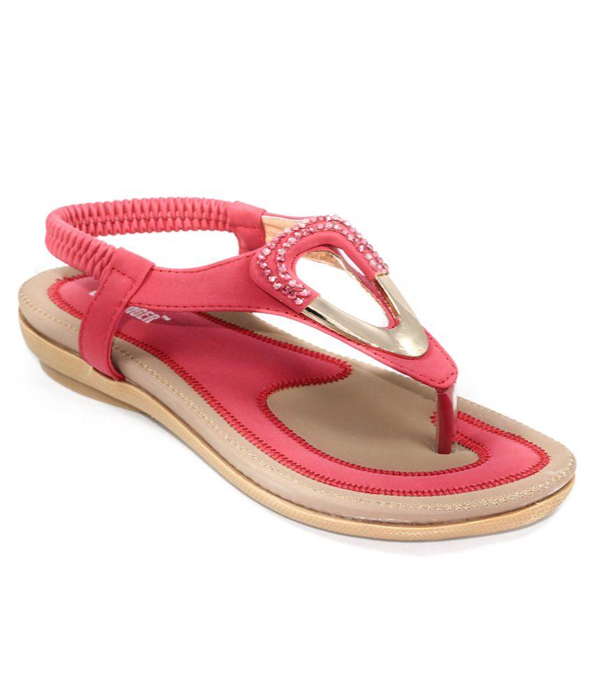Ladyfinger Pink & Beige Sandals
