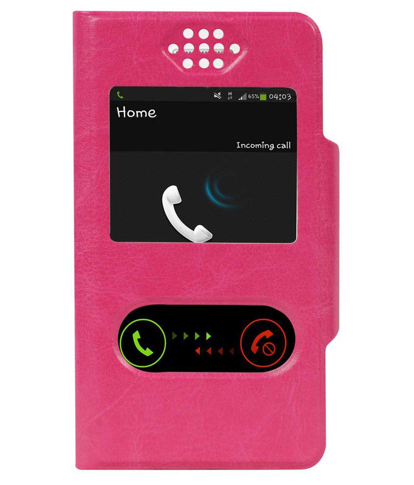 SNE Flip Cover For Xolo A500S-Pink