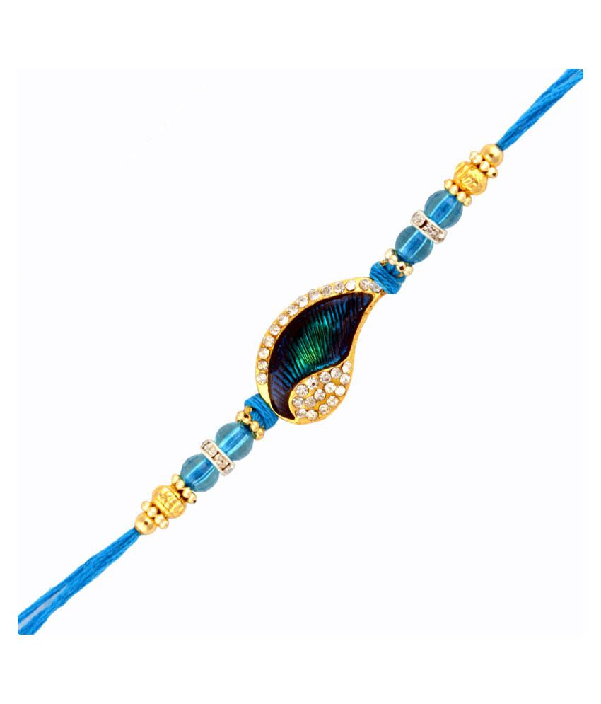 Send Rakhi Send Rakhi Multicolor Fabric Appealing Blue Rakhi