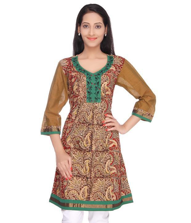Viniyog hand block printed kalamkari cotton long kurti