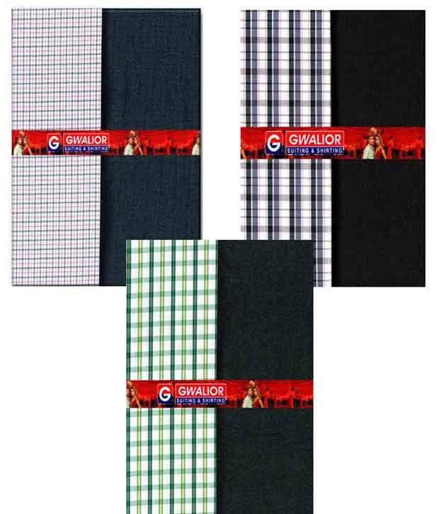 Gwalior Unstitched Formal Wear Set Of 6 (3 Shirt & 3 Trouser )
