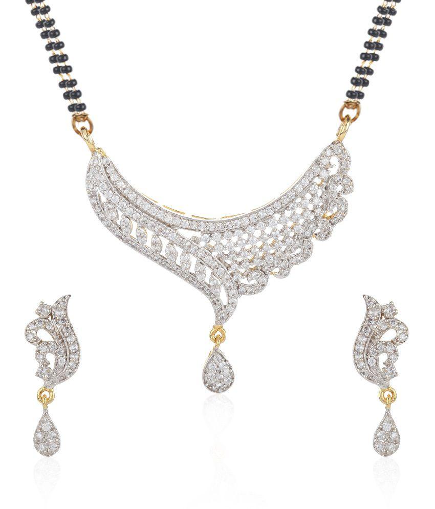 Jewels Galaxy White Imperial American Diamond Mangalsutra Set