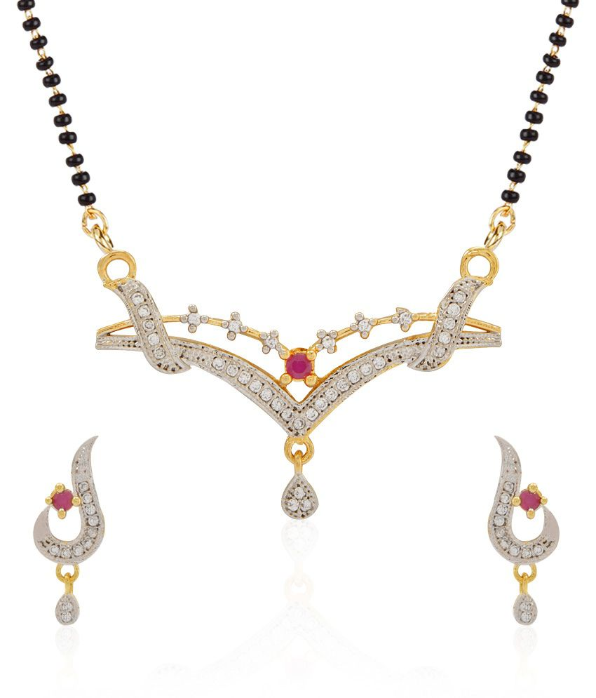 Jewels Galaxy White Ruby Imperial American Diamond Mangalsutra Set