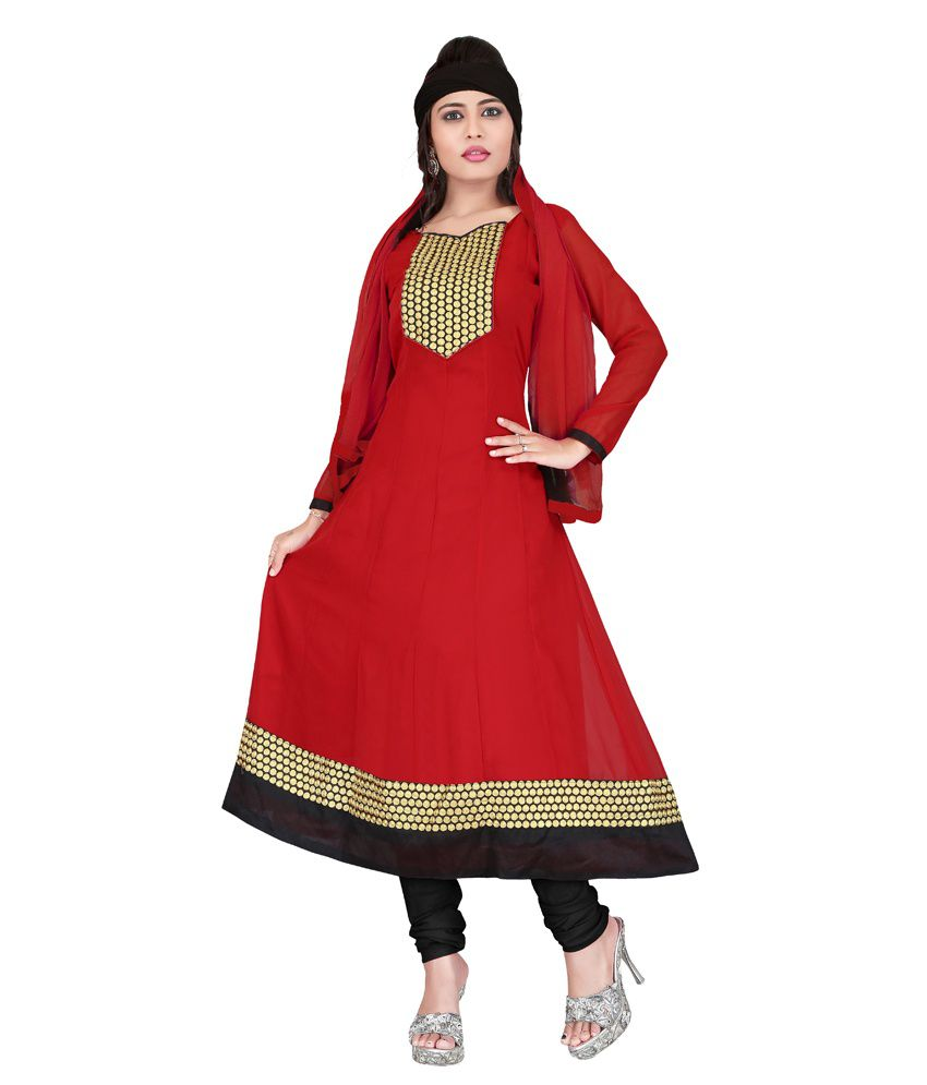 Khushali Red Faux Georgette Unstitched Dress Material