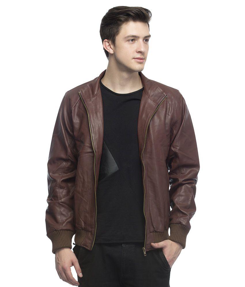 Lambency Brown Leather Casual Jacket - Buy Lambency Brown Leather ...