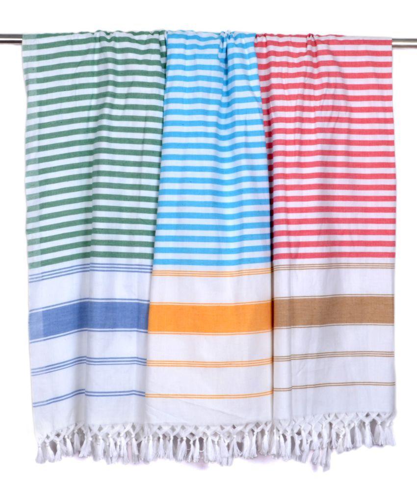 Sathya Multicolor Striped Cotton Bath Towels