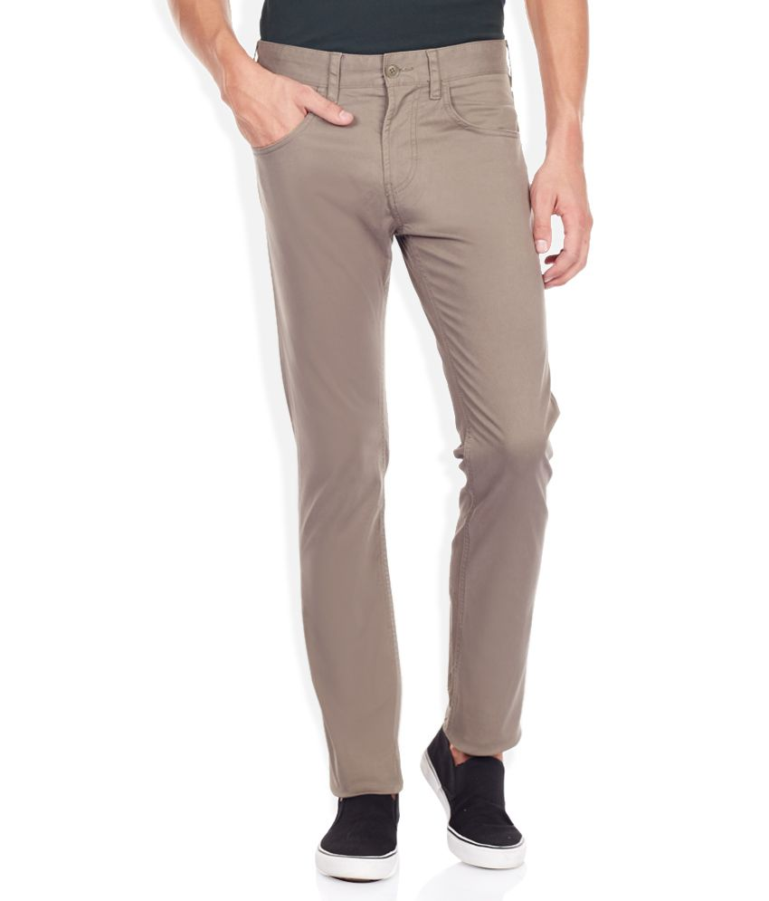 FCUK Beige Solid Flat Front Trousers
