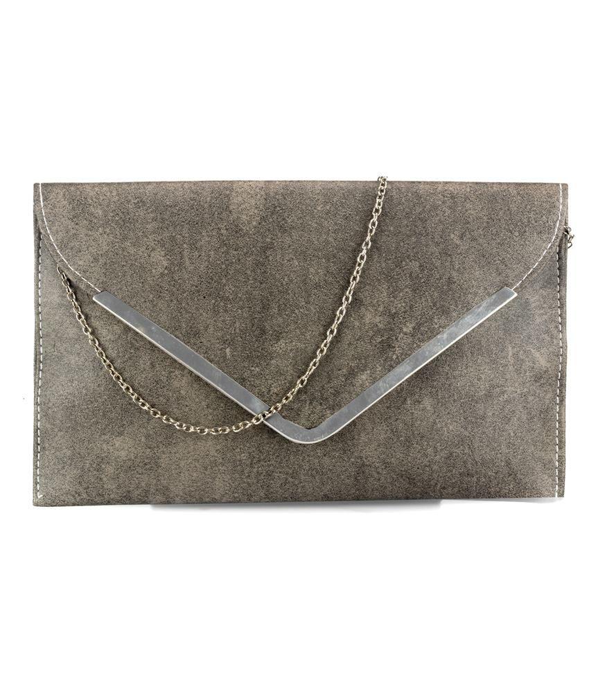 Frosty Fashion Gray PU Clutche & Wallet