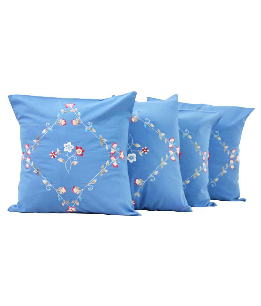 Milano Home Tamara Blue Cotton Cushion Cover Set of 4