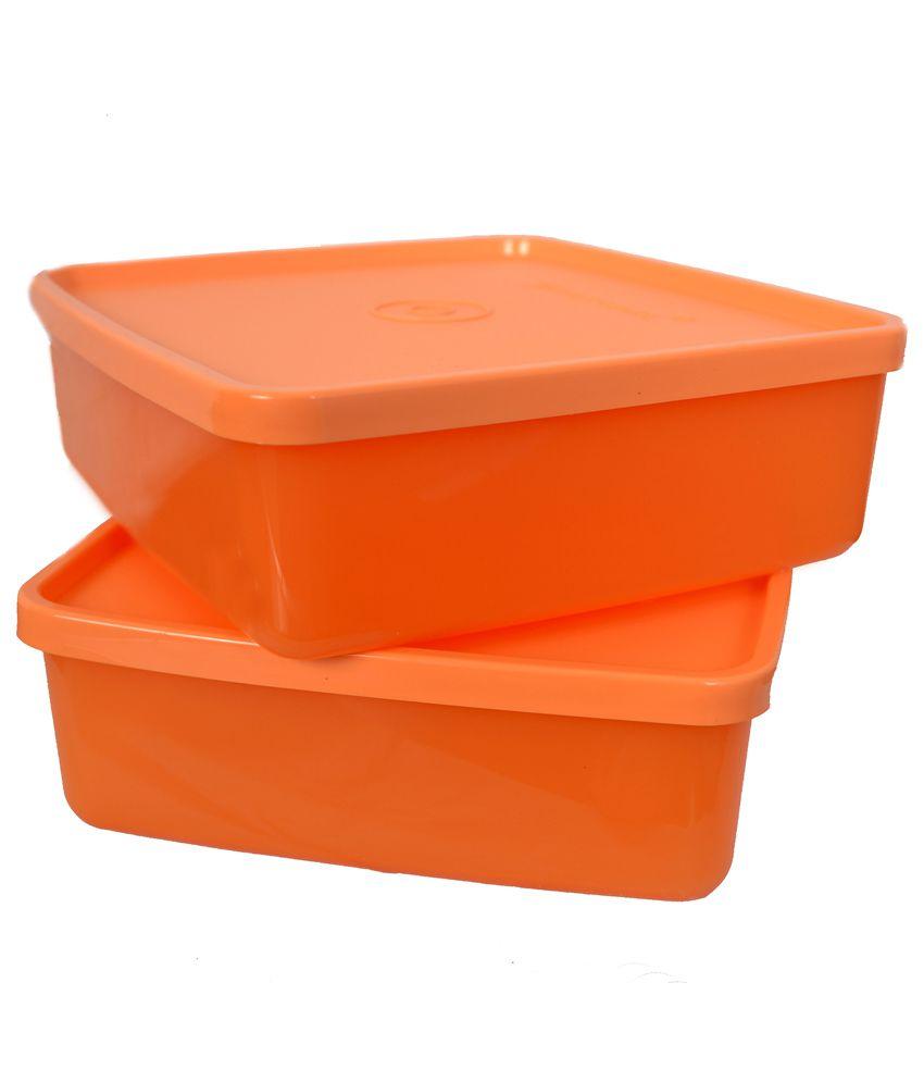 Tupperware Orange Lunch Square Box Pack Of 2 Buy Online