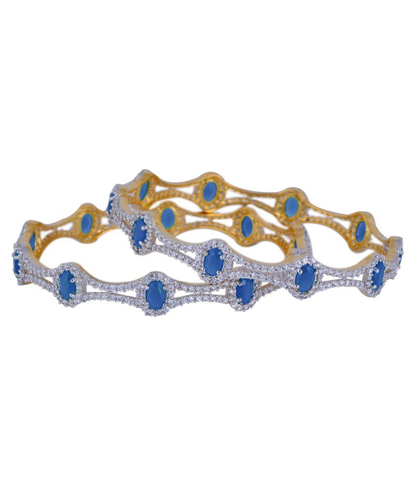 Chaahat Fashion Jewellery Blue Copper Toggle Bangle Set