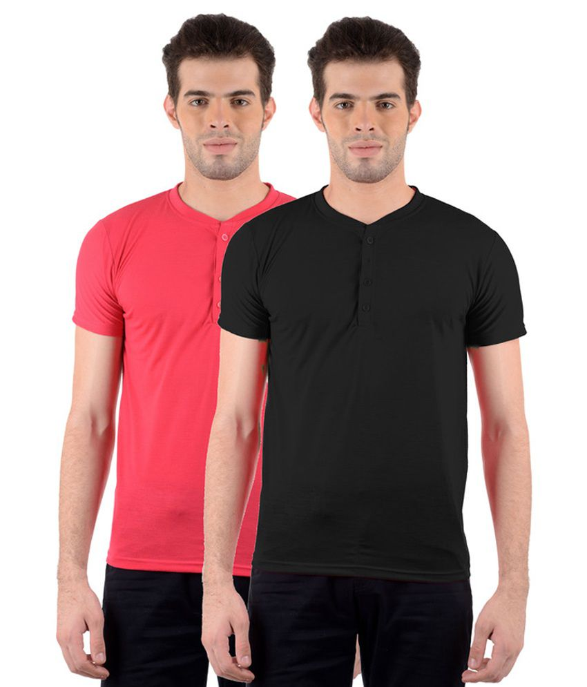 GDivine Men's Henley Red & Black T-Shirts (Pack of 2)