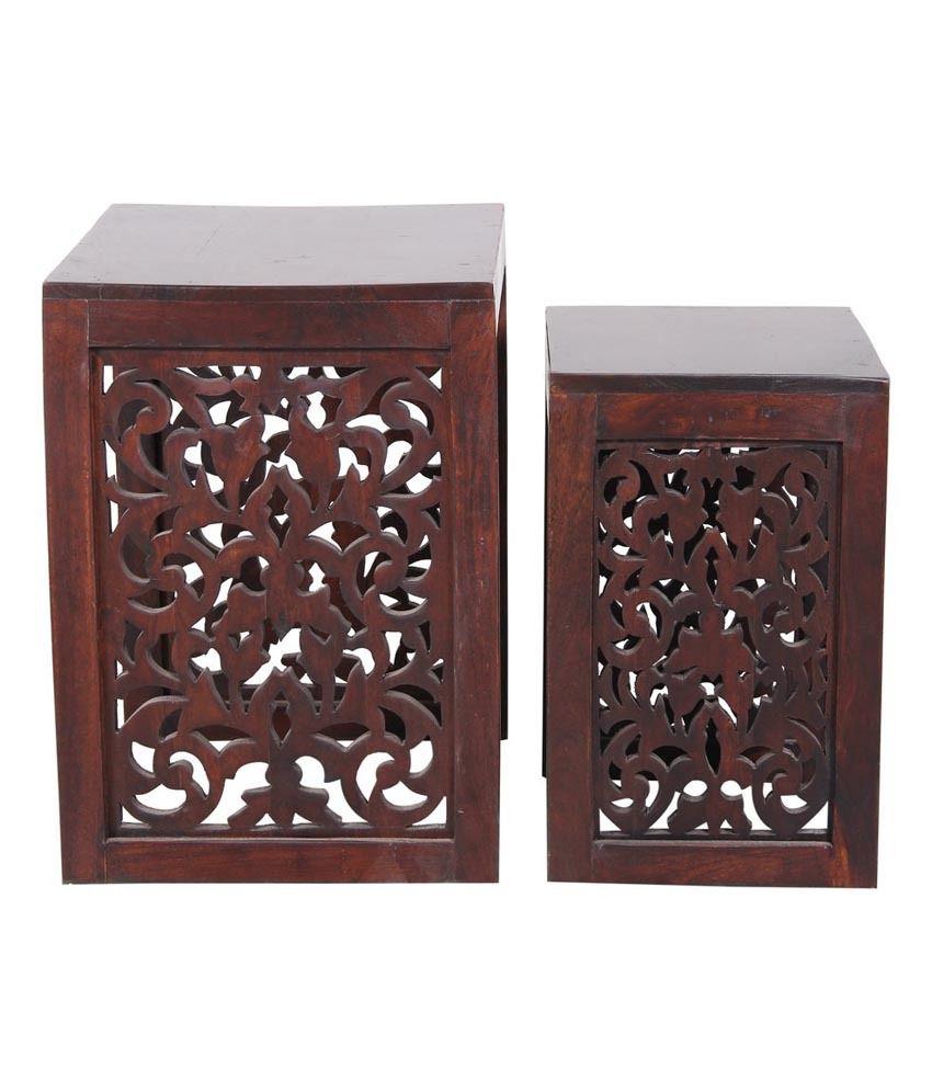 Sheesham Bedroom Furniture Shekhawati Nirvana Sheesham Wood Nesting Chairs Set Of 2 Buy