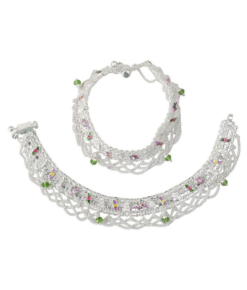 Taj Pearl Silver & Green Brass Anklets