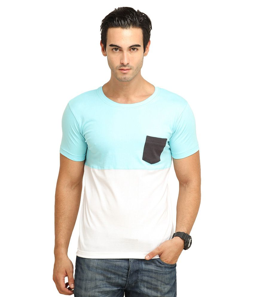 FIO Blue and White Cotton T-Shirt