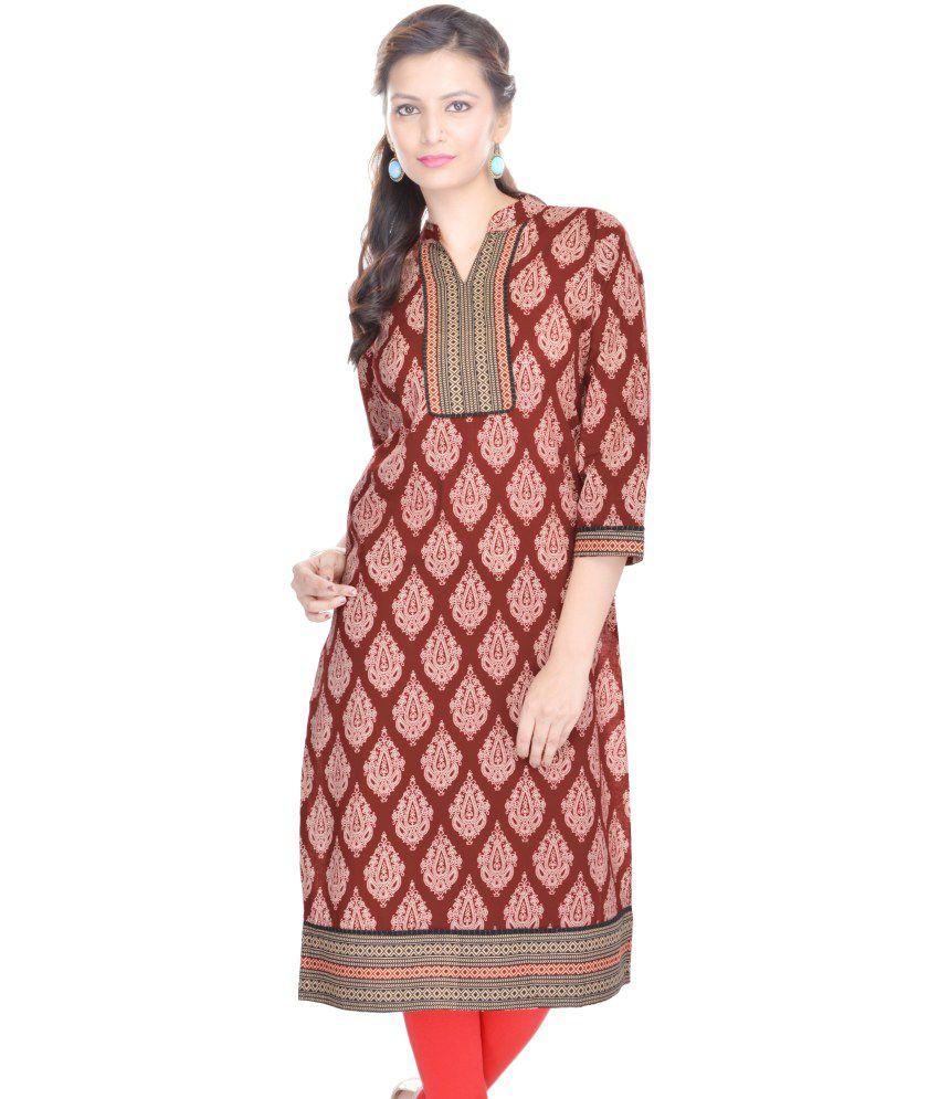 Shopping Rajasthan Maroon Cotton Kurti