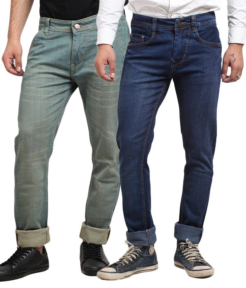 X-Cross Multicolour Cotton Blend Jeans - Pack of 2pcs