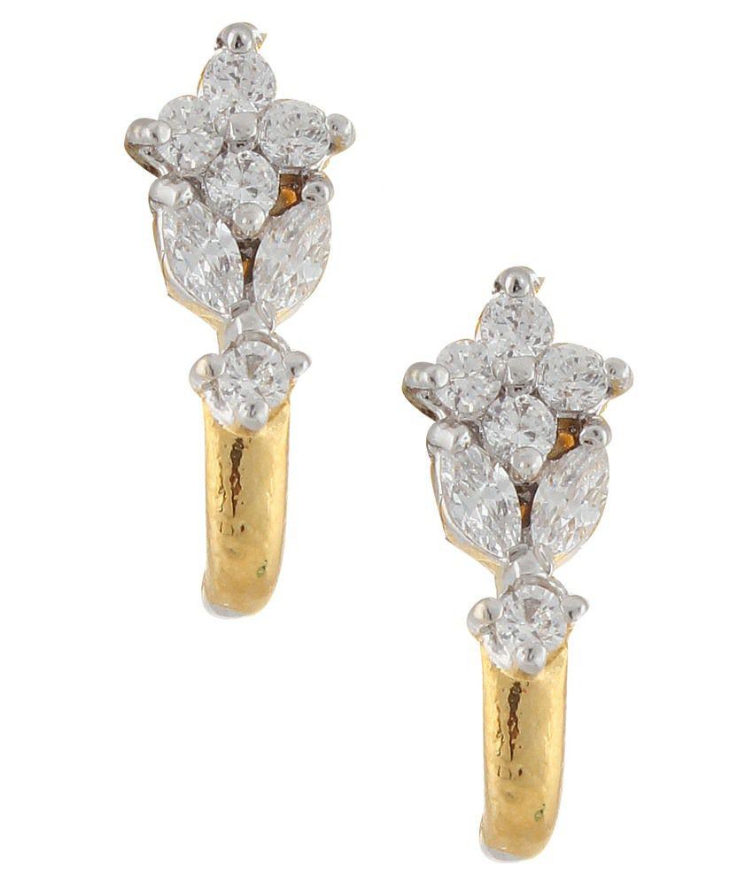 Parijaat Golden & White Stud Earrings
