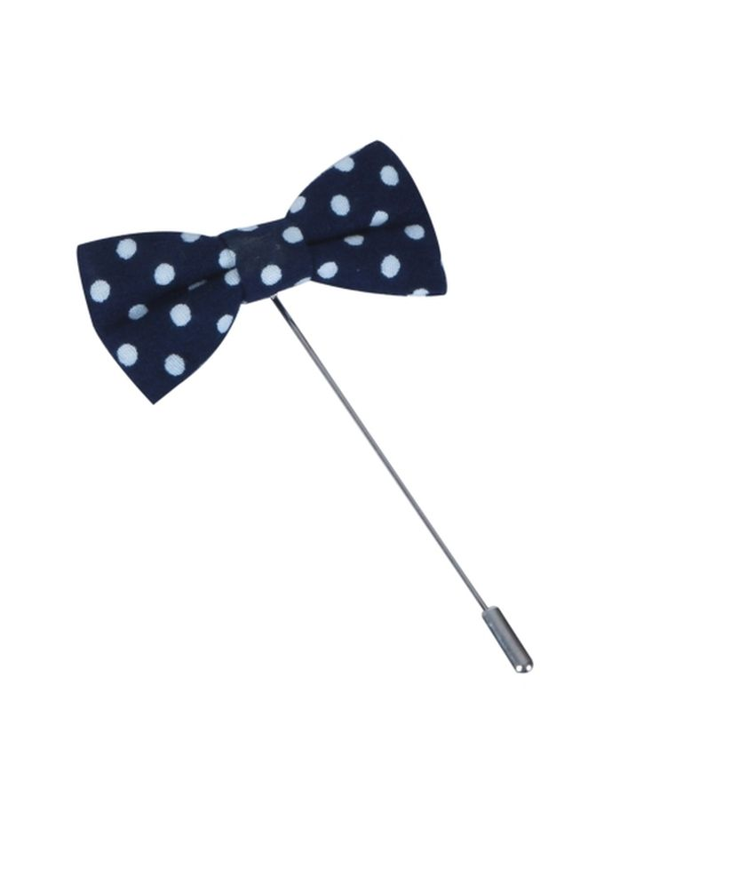 The Suit Navy Blue Polka Dot Bow Lapel Pin