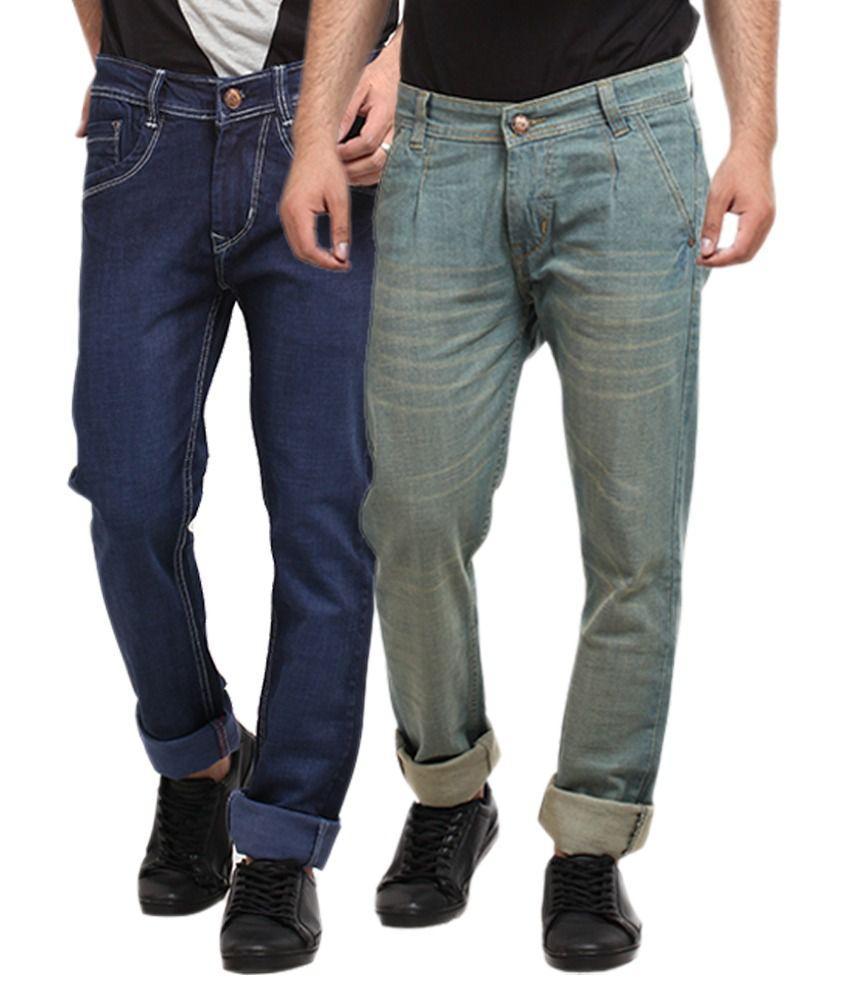 X-cross Blue Regular Fit Jeans - Pack of 2