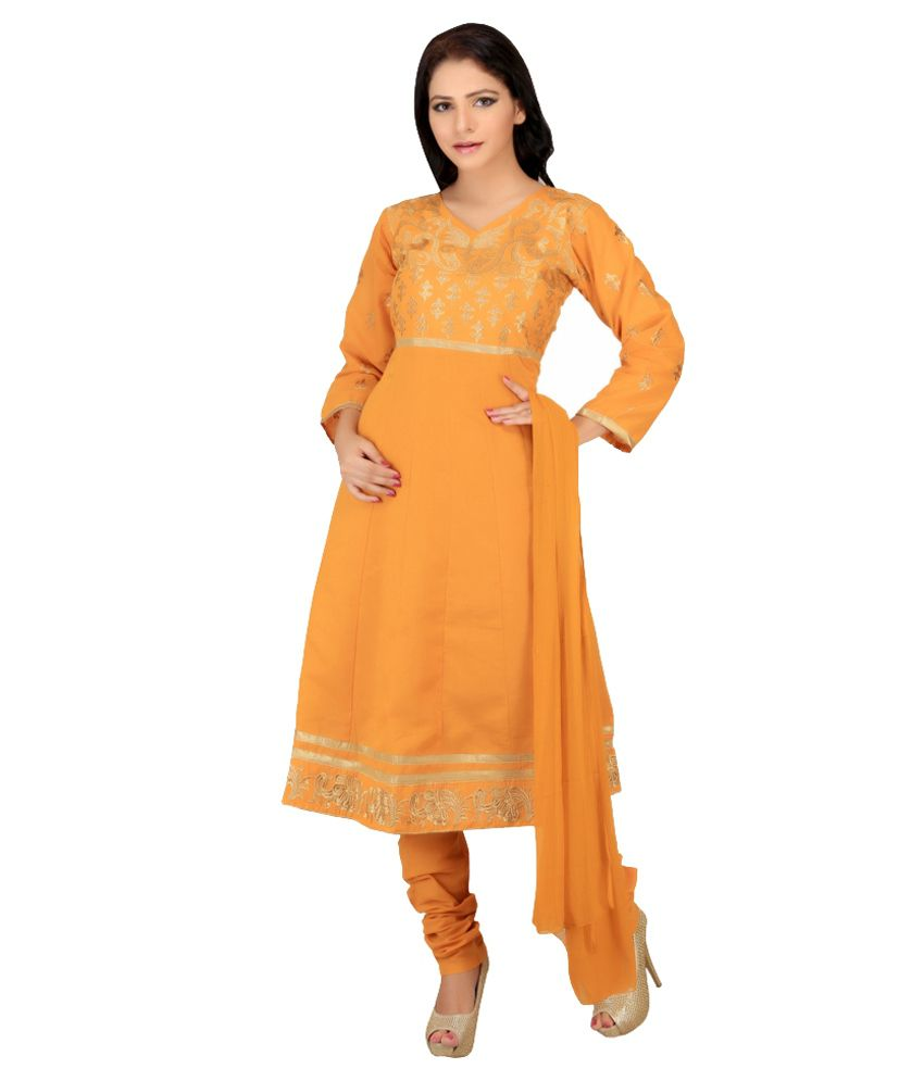 Arogaya Traders Yellow Cotton Stitched Suit