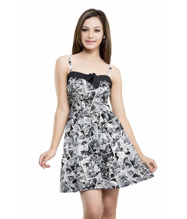 Kashana Fashions Cotton Fabric Batmen Comic Black Printed Stripped Kf106 Dress