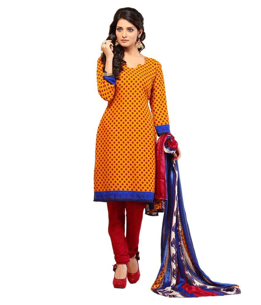 3a9cd3aff8 Niharika Yellow Cotton Unstitched Dress Material - Buy Niharika Yellow  Cotton Unstitched Dress Material Online at Best Prices in India on Snapdeal