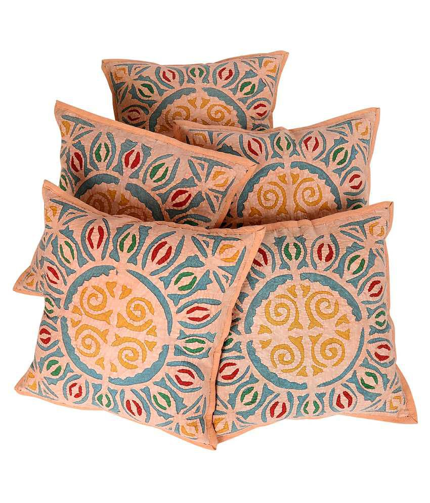 Rajrang Pink Cotton Cushion Covers Pack Of 5