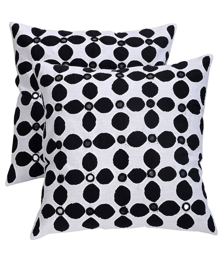 Rajrang White Cotton Cushion Covers Pack Of 2
