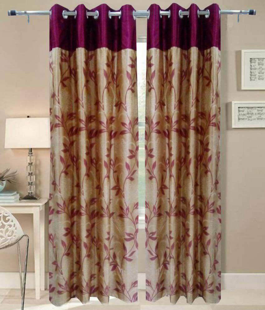 idecor set of 4 door eyelet curtains printed red buy