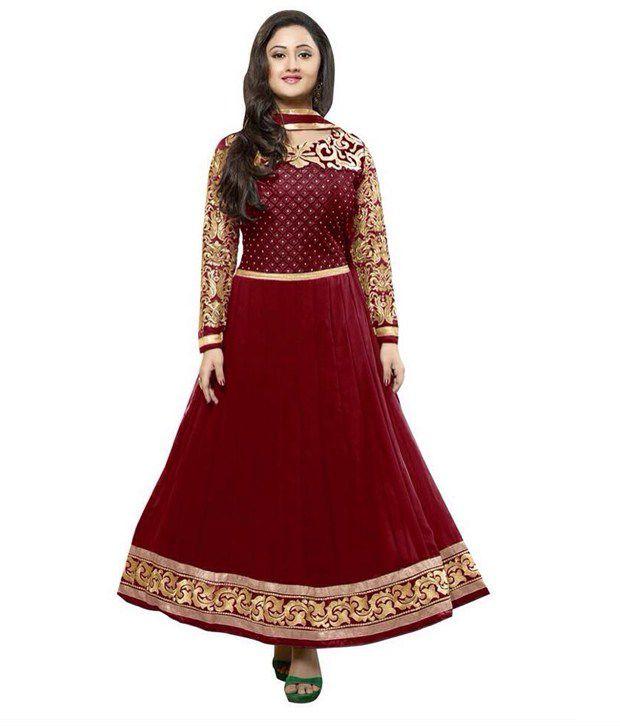 Astron Rashmi Desai Red Pure Georgette Unstitched Dress Material