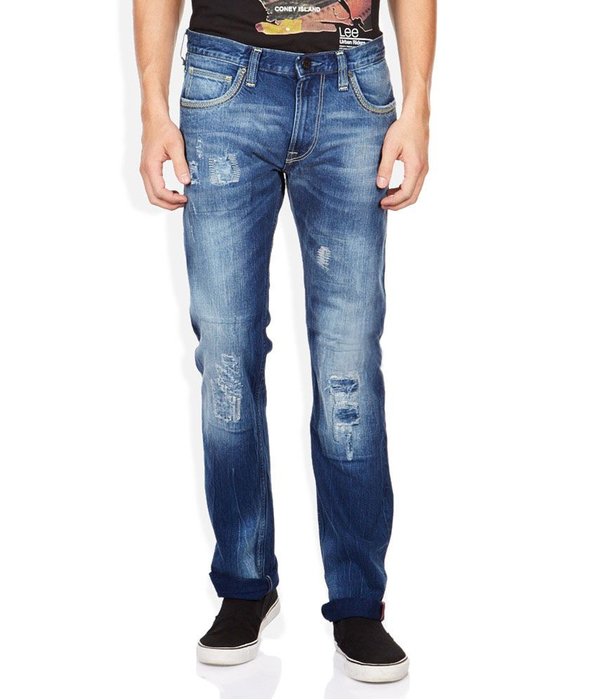Lee Blue Slim Fit Faded Jeans