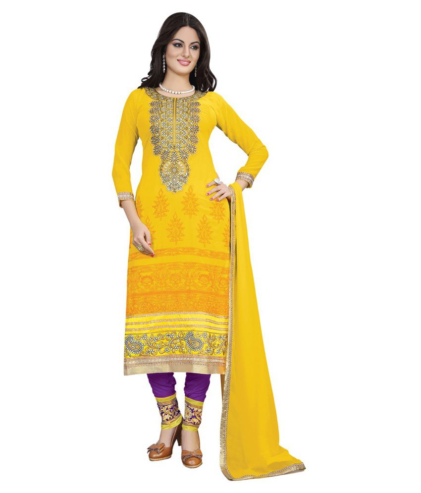 Lookslady Yellow Faux Georgette Stitched Suit