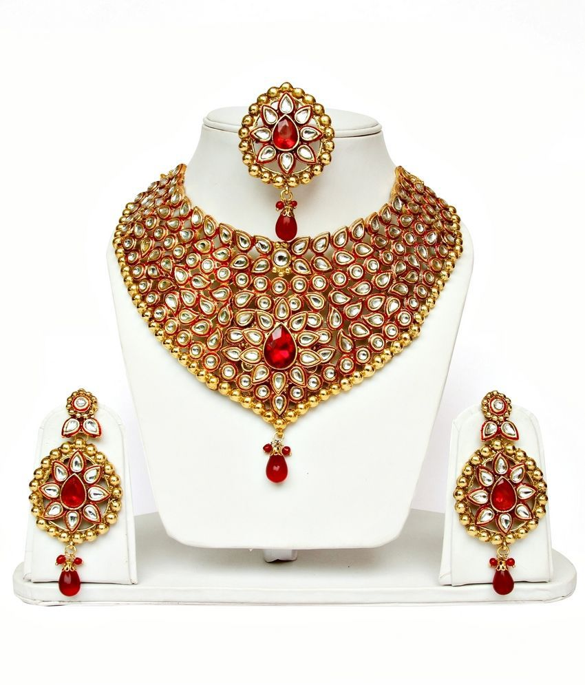 Lucky Jewellery Red Kundan Kundan Necklace Set