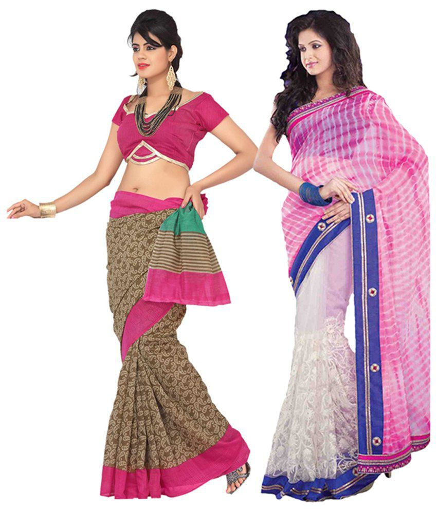 Womantra Green & Pink Bhagalpuri Silk Saree (Pack of 2)