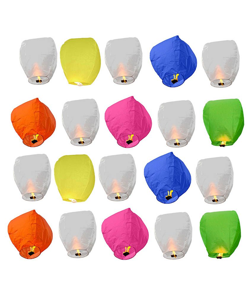 Ave Multicolor Sky Lantern   Pack of 20