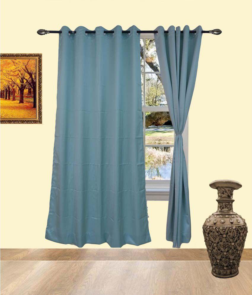 Deco India Blue Cotton Pvc Curtains Solid Blue
