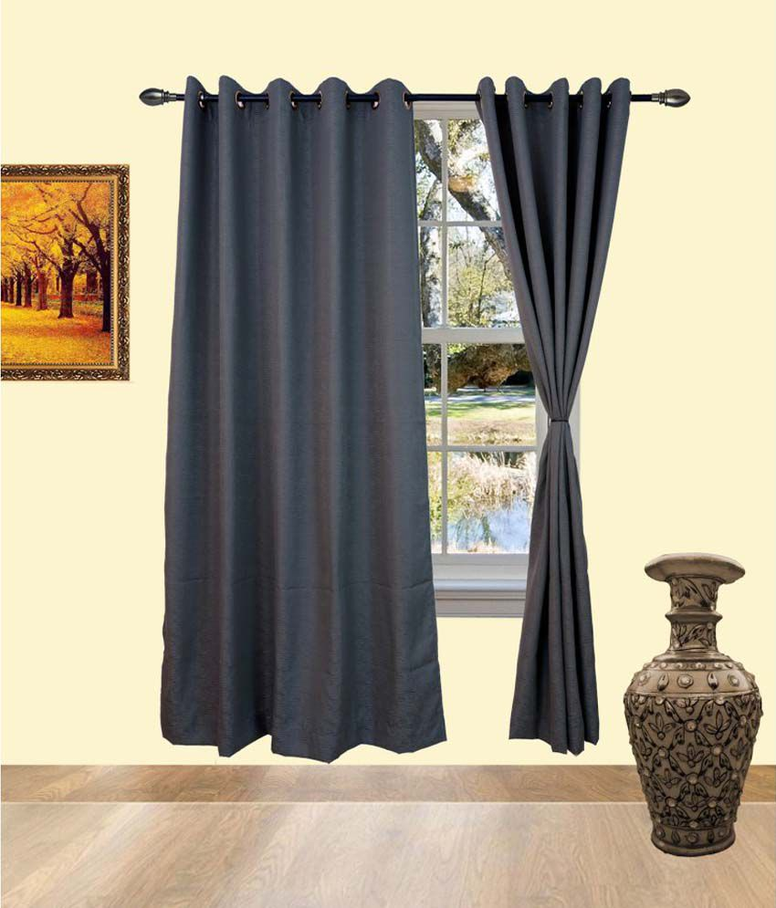 Deco India Grey Cotton Pvc Curtains Solid