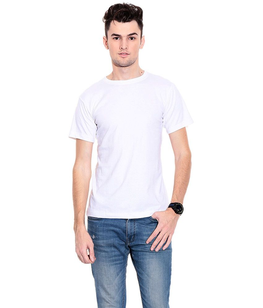 Kabs Men's Collections White Cotton Round Neck T-shirt