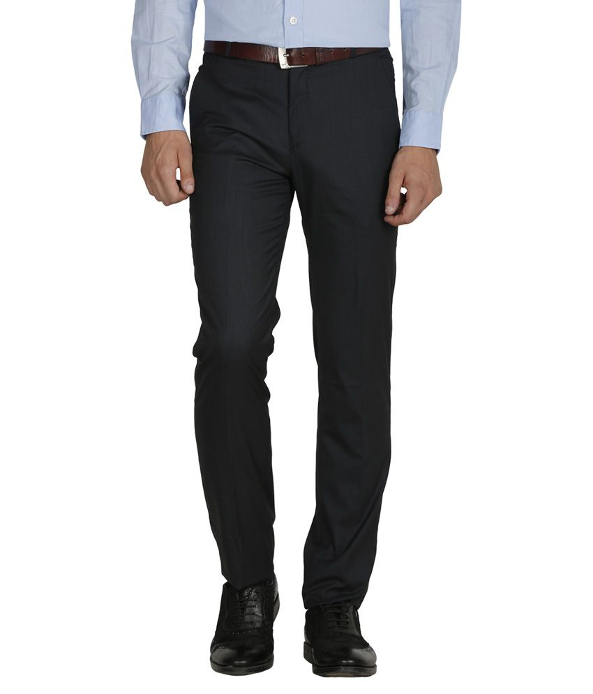 Kingswood Navy Poly Viscose Slim Fit Casual Trouser